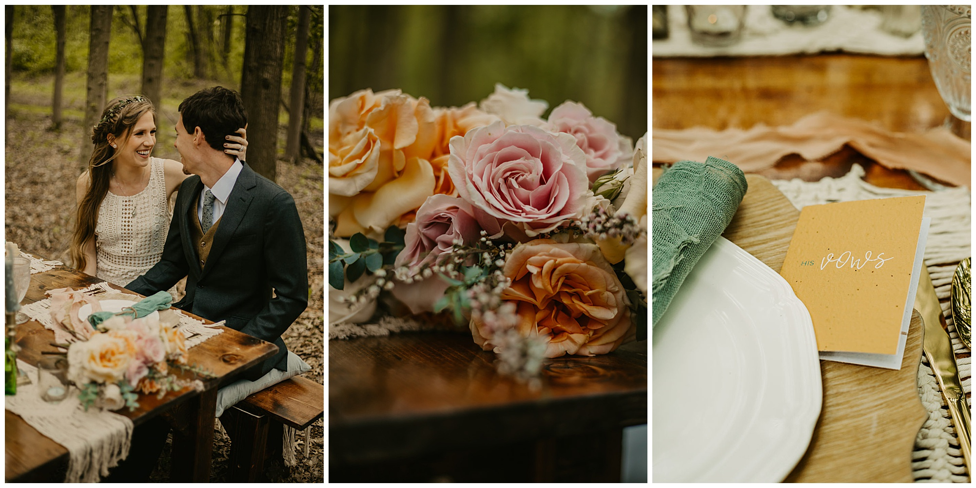 orange peach and pink florals with wedding cake and boho style and ecofriendly wedding theme at prancing deer farm. outdoor natural sustainable venue in warwick md