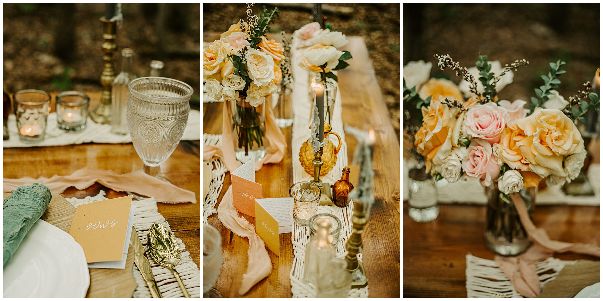colorful pastel floral arrangements and bouquet with vintage style glass decor and glassware and boho wedding theme at prancing deer farm. outdoor natural sustainable venue in warwick md. now featured on my eastern shore wedding.