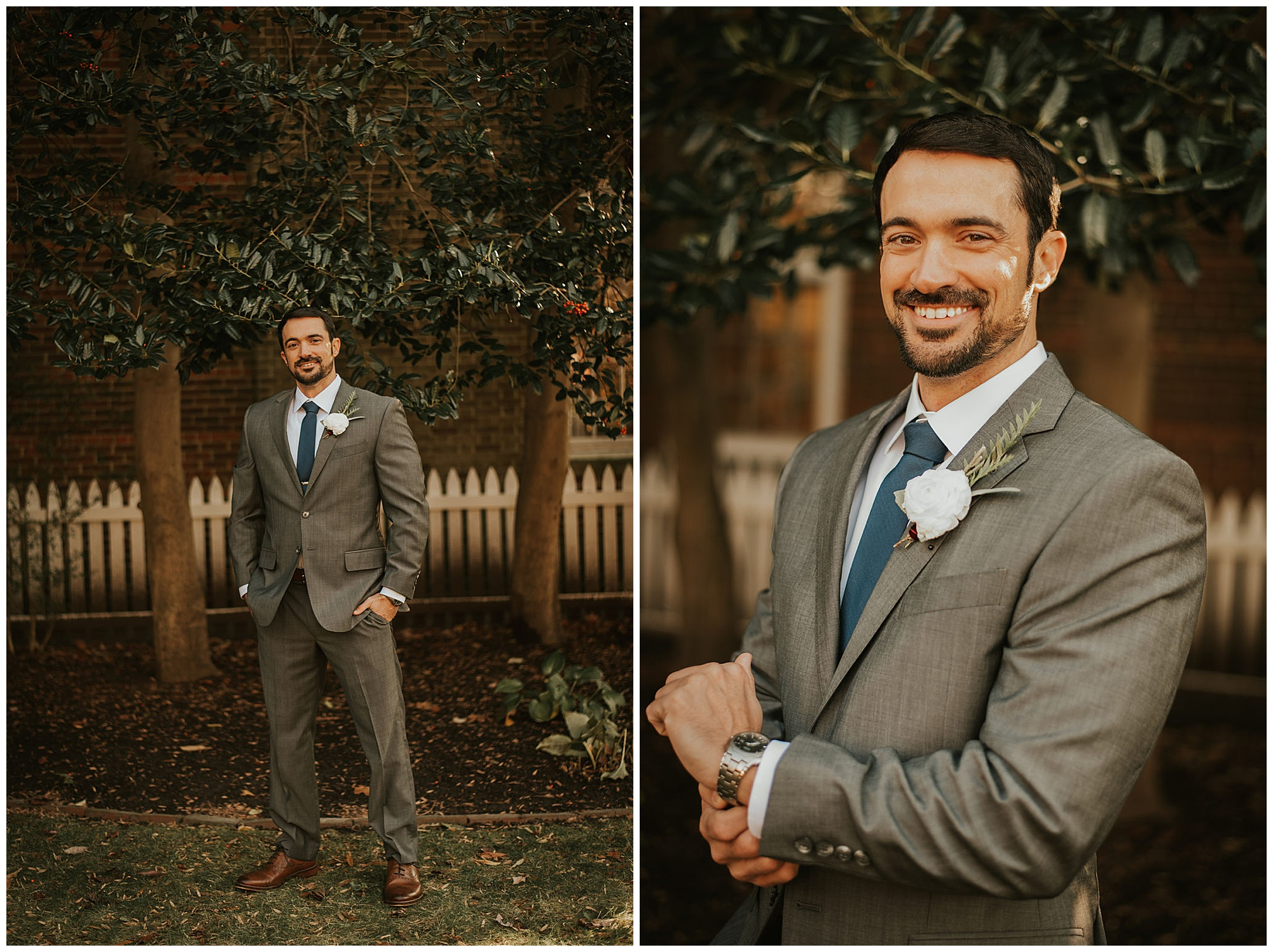 groom photo inspo outdoors with magnolia trees. southern style wedding inspiration. moody eastern shore style.