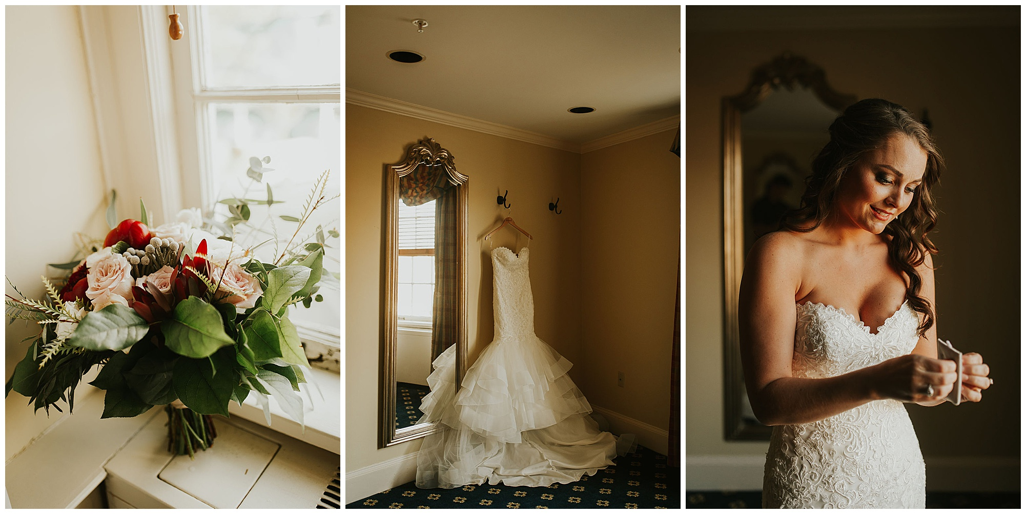 bridal bouquet, wedding dress gown, and bride getting ready at historic wedding venue indoors in easton maryland. now featured on my eastern shore wedding blog.