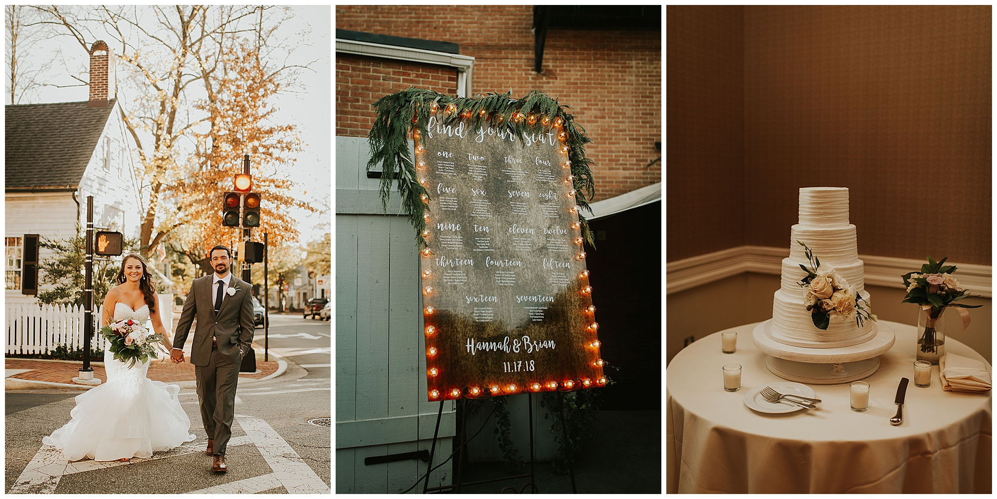 boho and romantic wedding theme style at tidewater inn venue in the fall autumn in easton maryland. white tiered wedding cake sign with lights and greenery. couple walking across the street in charming eastern shore town with red light stoplight in backdrop.