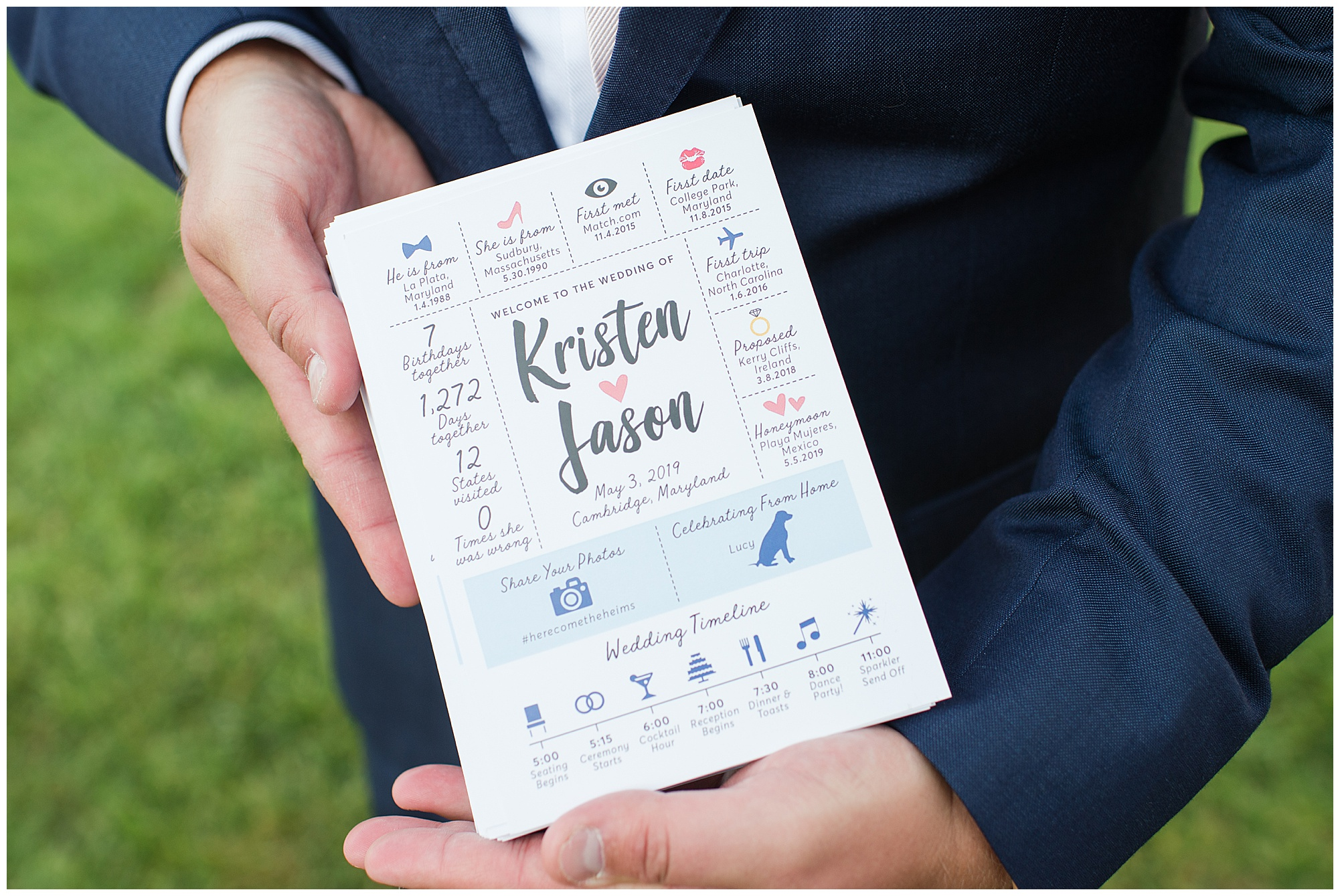 Photo shows wedding hashtag in use on a wedding program.