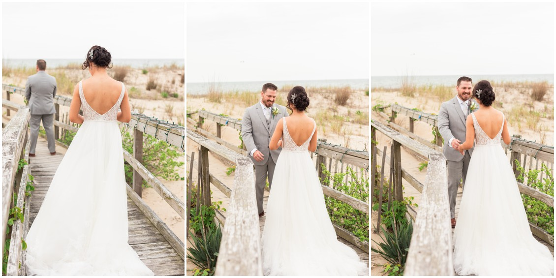 First look sequence | bride and groom on the beach | My Eastern Shore Wedding |Dover Tents and Events
