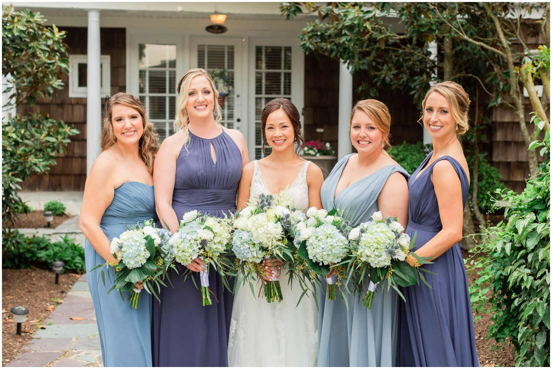 Bridesmaids with the bride, blue dresses, hydrangea bouquets| My Eastern Shore Wedding |Dover Tents and Events