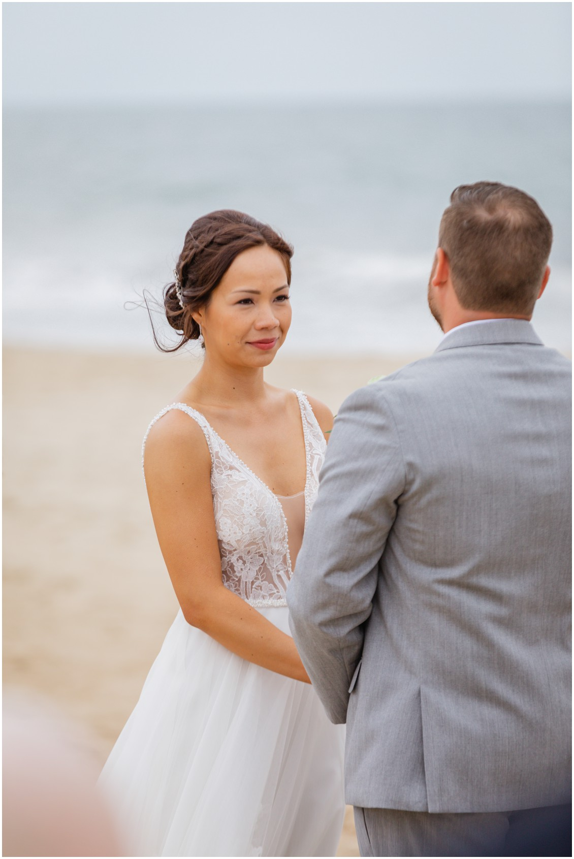 Bride at beach ceremony | My Eastern Shore Wedding | Dover Tents and Events