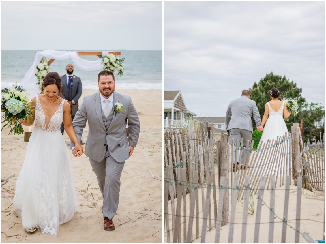 Bride and groom walking up sand dunes after beach ceremony | My Eastern Shore Wedding | Dover Tents and Events