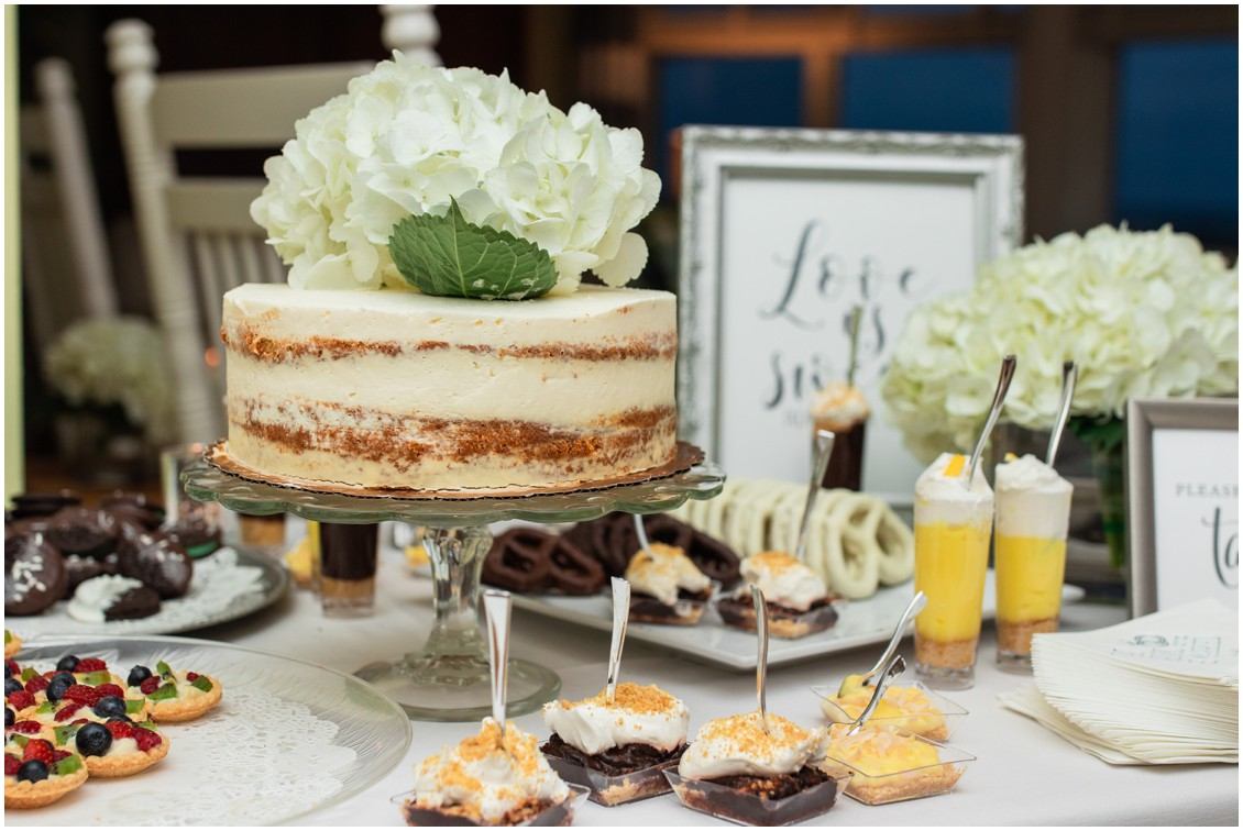 Cake with hydrangea and dessert table   My Eastern Shore Wedding   Dover Tents and Events