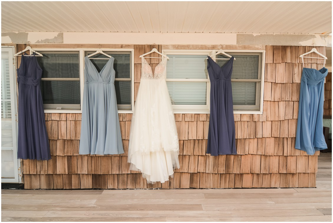 bridal gown and bridesmaid dresses in blue hues | My Eastern Shore Wedding | Dover Tents and Events