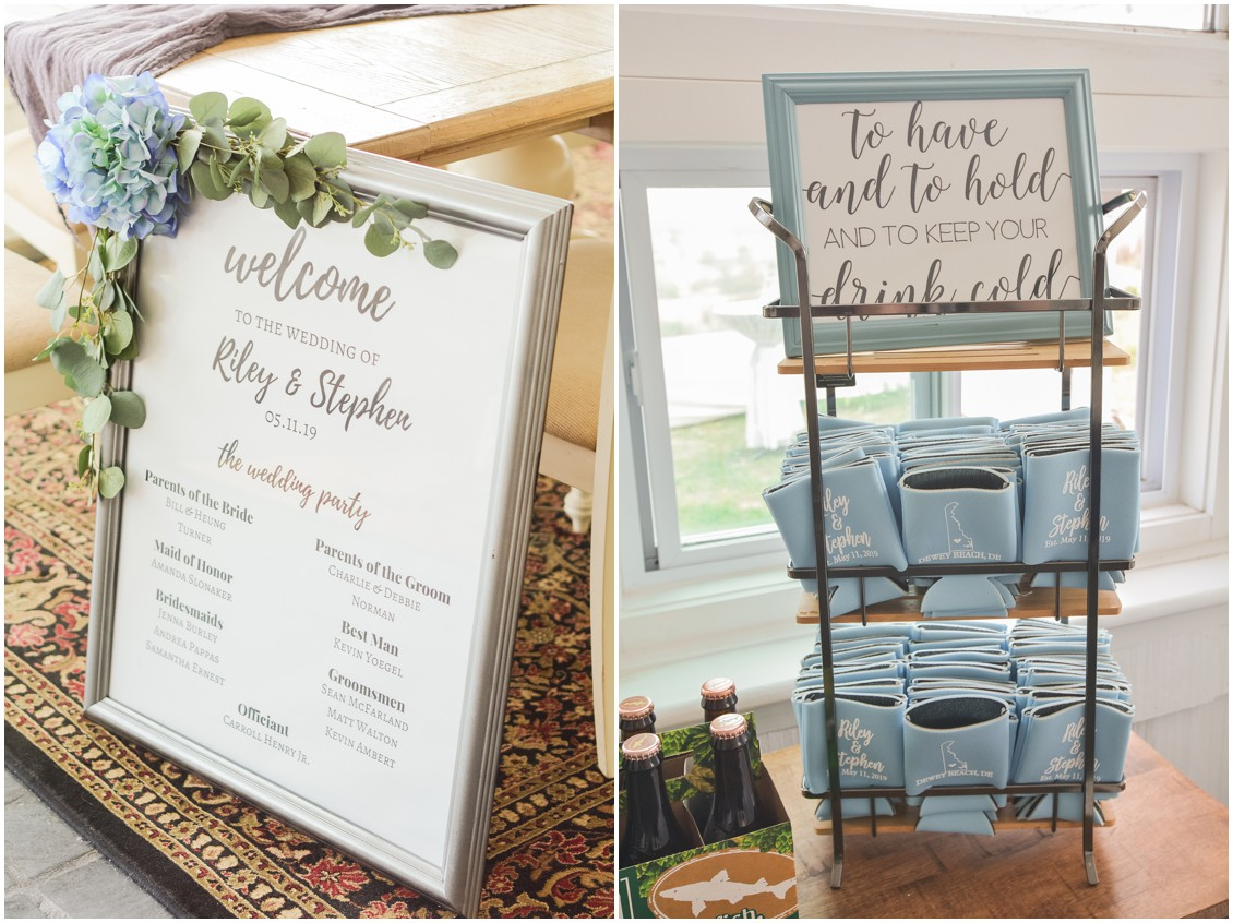 Large frame listing bridal party names and can koozy party favors | My Eastern Shore Wedding | Dover Tents and Events