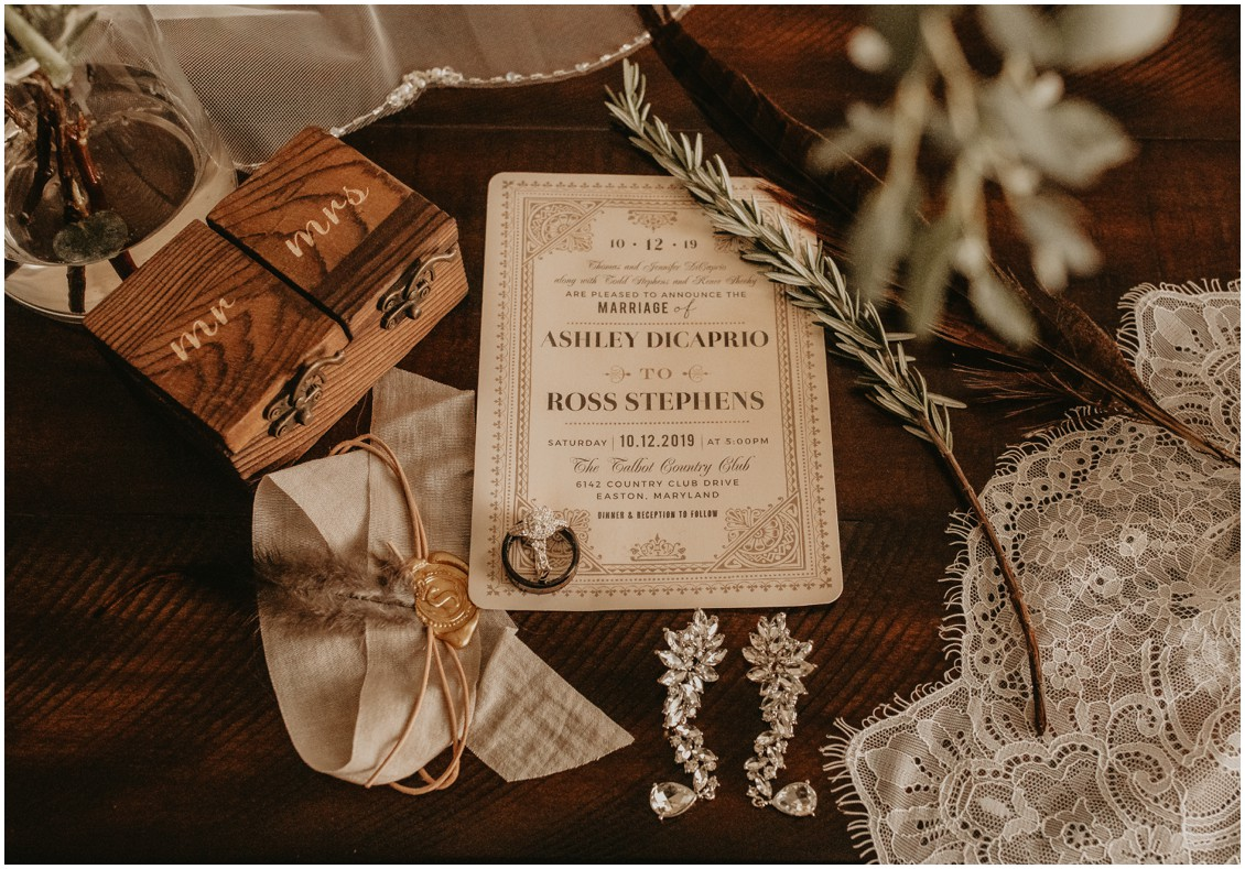 Beige and lace inspired wedding stationery, wedding jewelry and ring box styled on wood with veil details | My Eastern Shore Wedding | Sherwood Florist | Mill Street Farm
