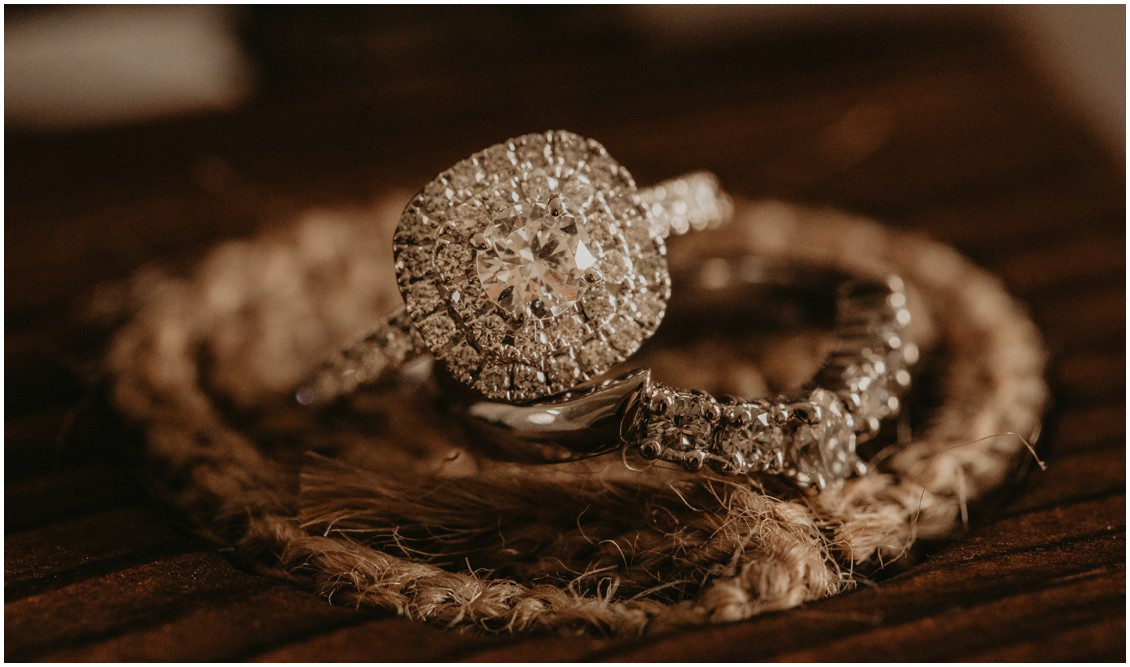 Diamond engagement ring and diamond wedding band detail shot   My Eastern Shore Wedding   Sherwood Florist   Mill Street Farm