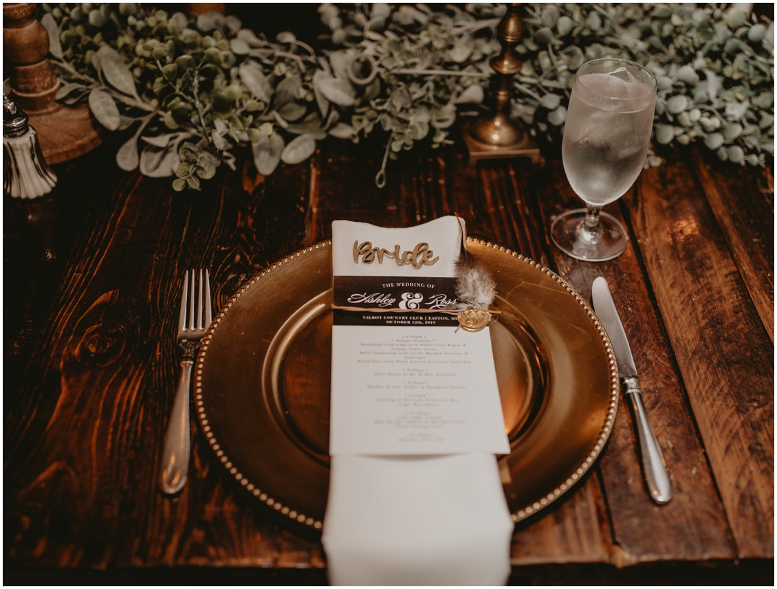 Table setting detail shot, gold chargers, eucalyptus table runner | My Eastern Shore Wedding | Sherwood Florist | Mill Street Farm