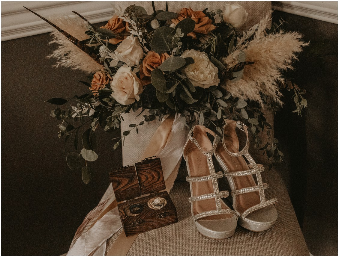 Bohemian chic bridal details--bouquet, rings and ring box, bride's shoes   My Eastern Shore Wedding   Sherwood Florist   Mill Street Farm