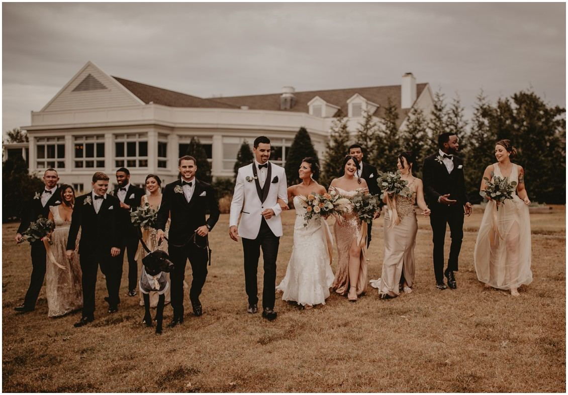 Bridal party with bride and groom and dog | My Eastern Shore Wedding | Sherwood Florist | Mill Street Farm