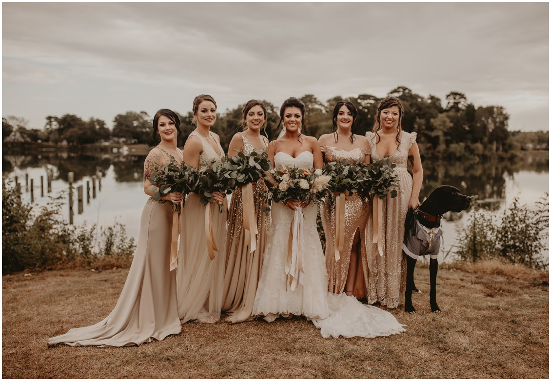 Bohemian chic bride with bridesmaids in earth tones | My Eastern Shore Wedding | Sherwood Florist | Mill Street Farm