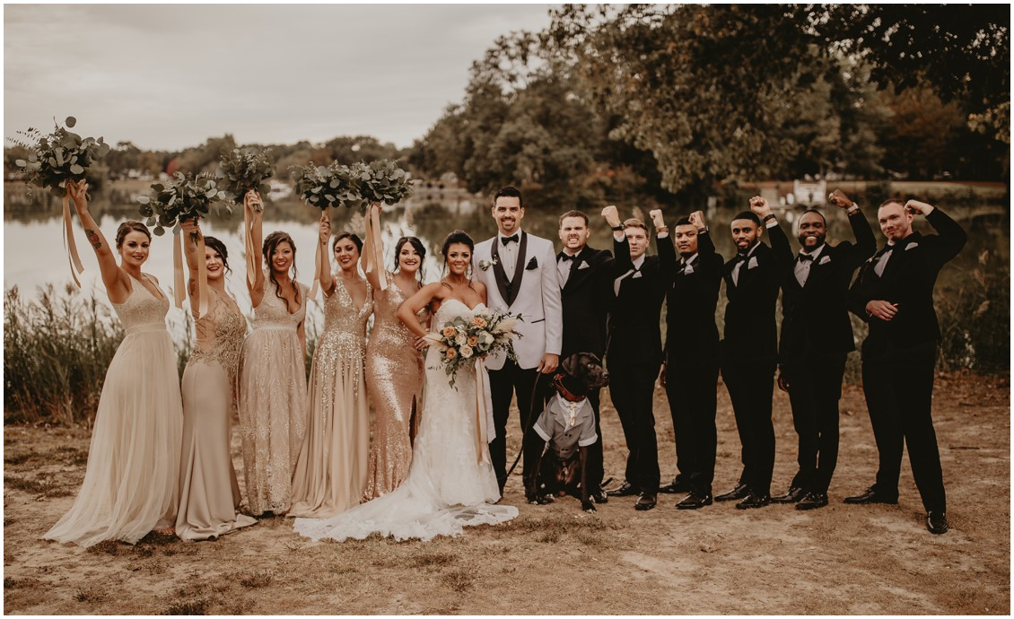 Boho chic bridal party with bride and groom| My Eastern Shore Wedding | Sherwood Florist | Mill Street Farm