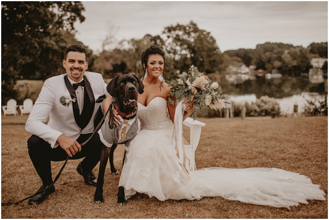 Boho chic bride and groom with very large dog | My Eastern Shore Wedding | Sherwood Florist | Mill Street Farm