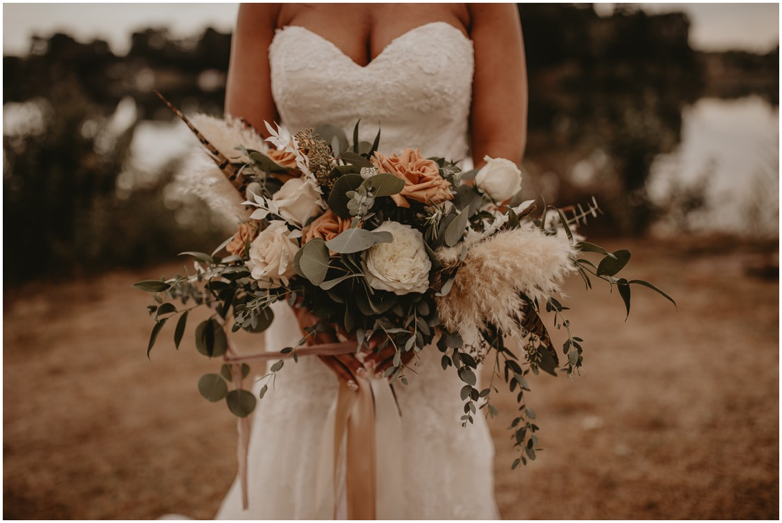 Bridal Bouquet with pampas grass, feathers, and earth tones roses | My Eastern Shore Wedding | Sherwood Florist | Mill Street Farm