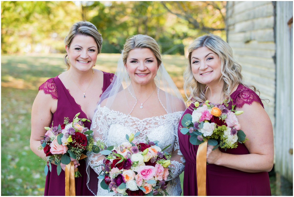 Bride with bridesmaids golden hour portrait | My Eastern Shore Wedding | The Oaks Waterfront Inn | Monteray Farms
