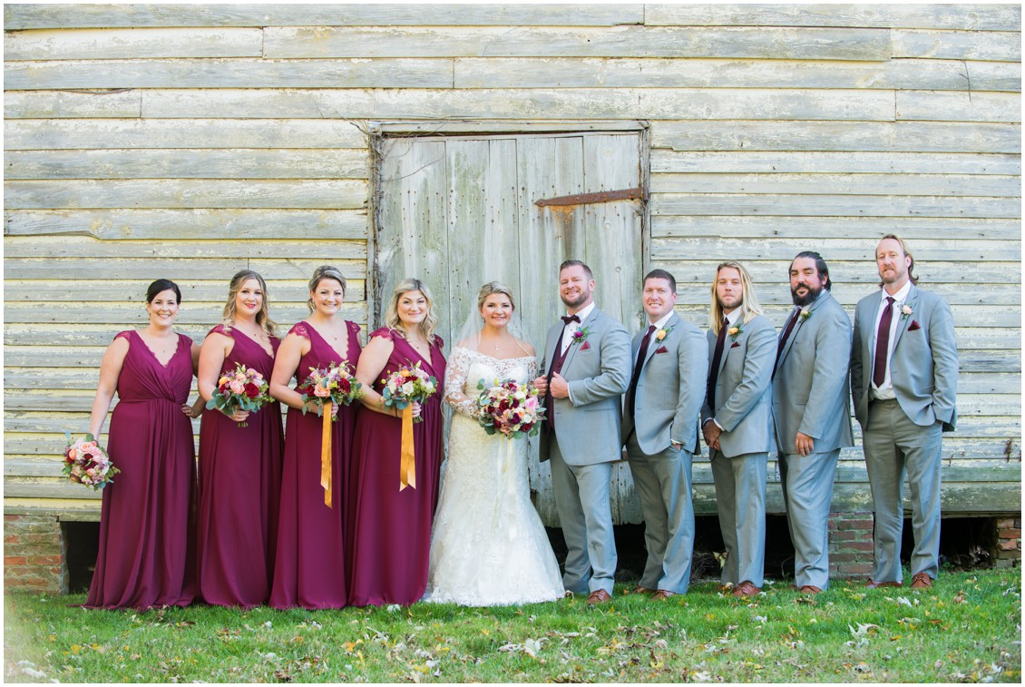 Bride and groom with bridal party golden hour portrait | My Eastern Shore Wedding | The Oaks Waterfront Inn | Monteray Farms