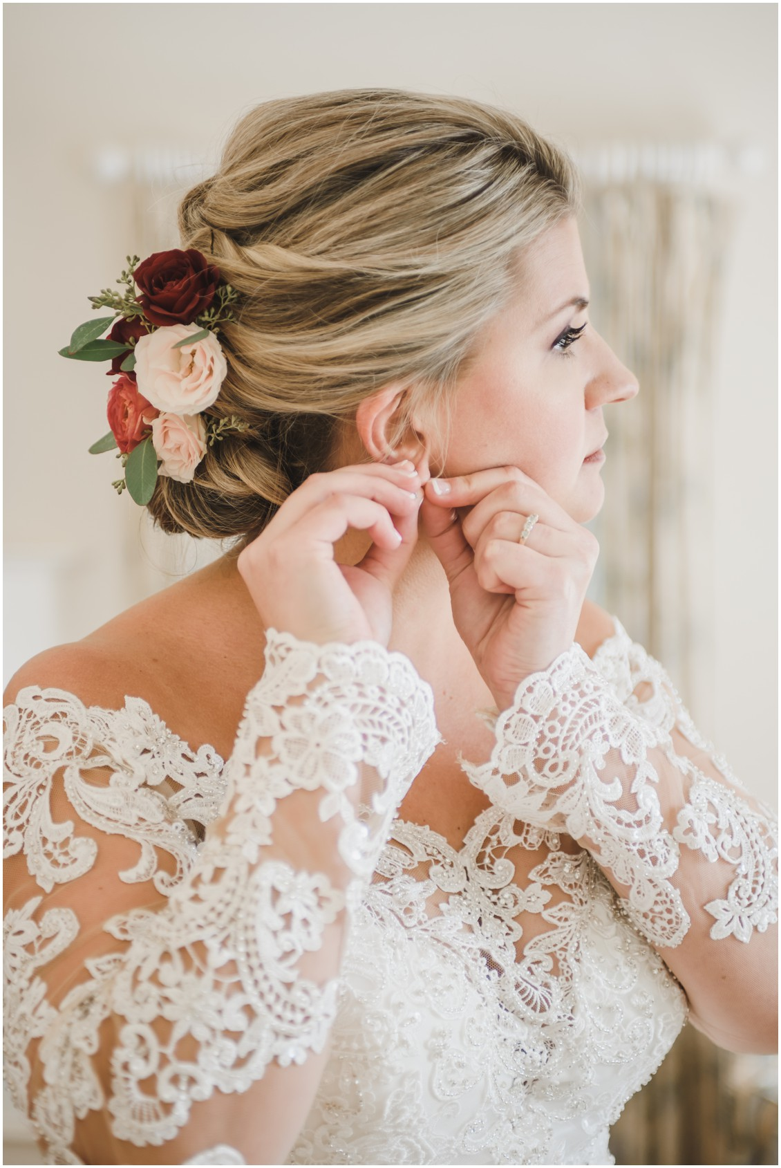 Bride getting ready for wedding | My Eastern Shore Wedding | The Oaks | Monteray Farms