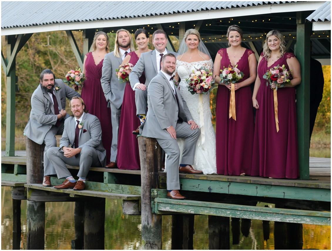 Bridal party golden hour portrait by the water | My Eastern Shore Wedding | The Oaks Waterfront Inn | Monteray Farms