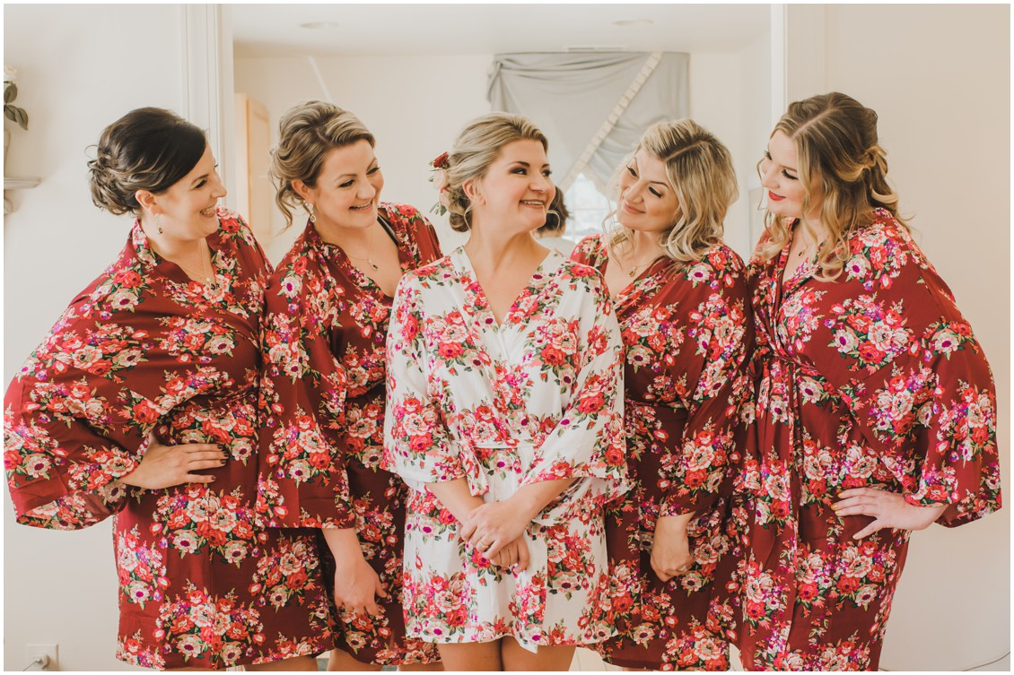 Bride and bridesmaids in matching robes | My Eastern Shore Wedding | The Oaks Waterfront Inn | Monteray Farms