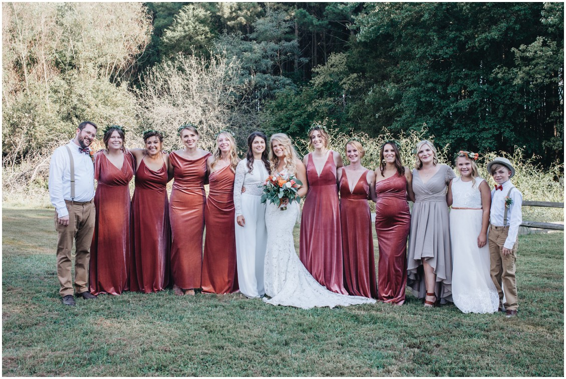 Bridal party copper velvet bridesmaids at beautiful boho style wedding | My Eastern Shore Wedding | Sherwood Florist | Cecile Storm Photography