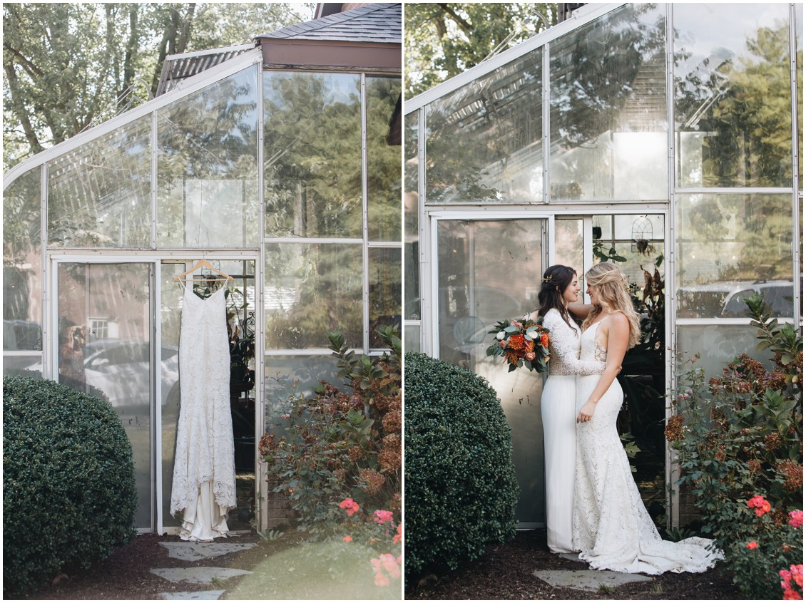 Wedding dress detail shot and brides in front of greenhouse at boho wedding | My Eastern Shore Wedding | Sherwood Florist | Cecile Storm Photography