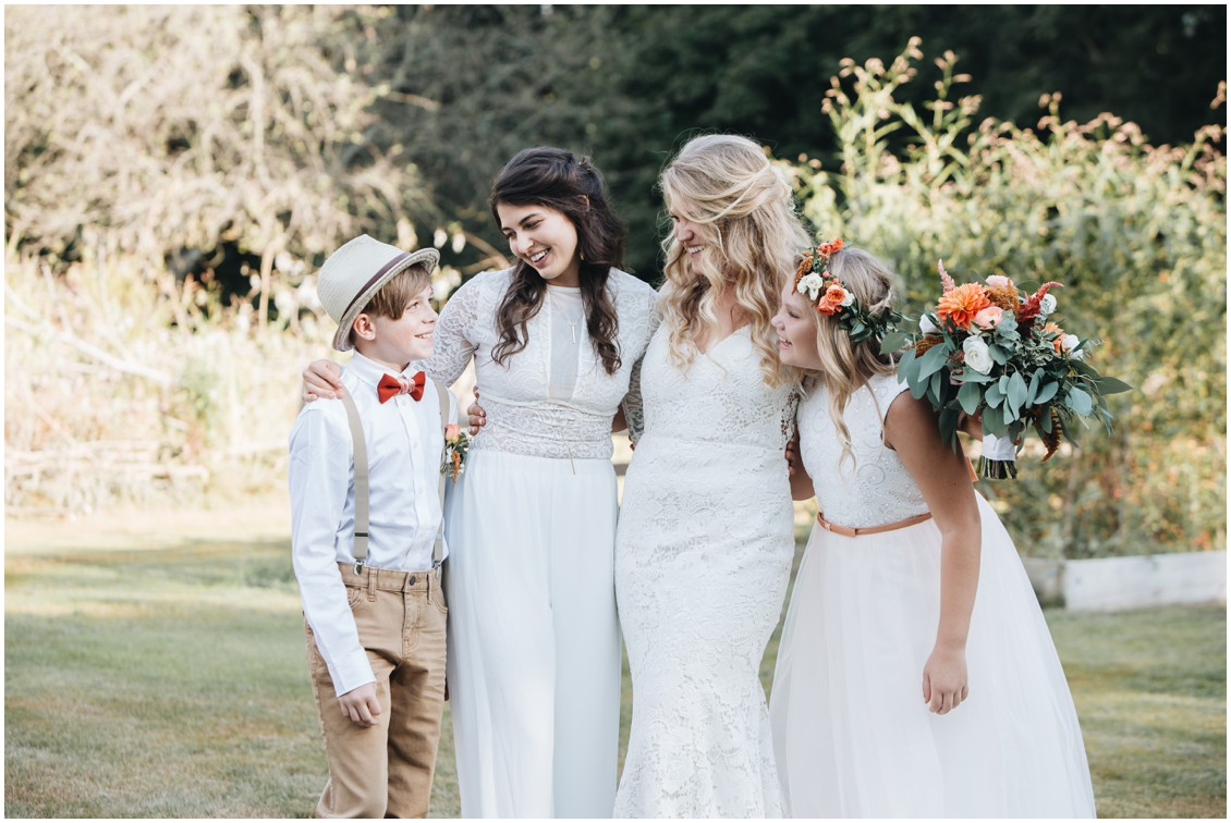 Brides with flower girl and ring bearer at boho wedding | My Eastern Shore Wedding | Sherwood Florist | Cecile Storm Photography