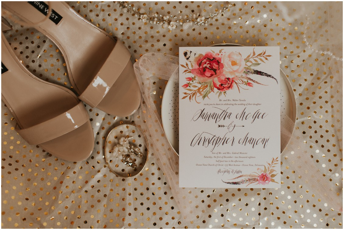 Flat Lay of invitation and bridal details  in winter wedding | My Eastern Shore Wedding | Bear Trap Dunes | Coastal Tented Events
