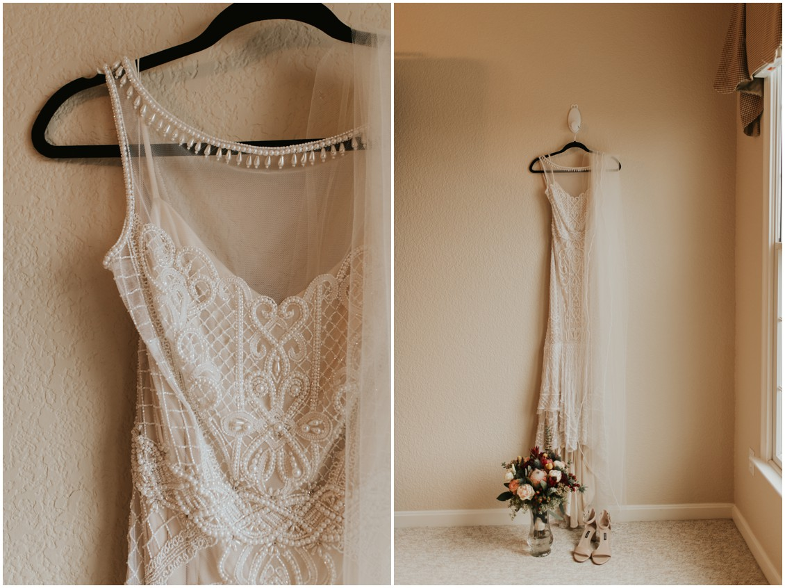 BHLDN beaded bridal gown details in winter wedding | My Eastern Shore Wedding | Bear Trap Dunes | Coastal Tented Events