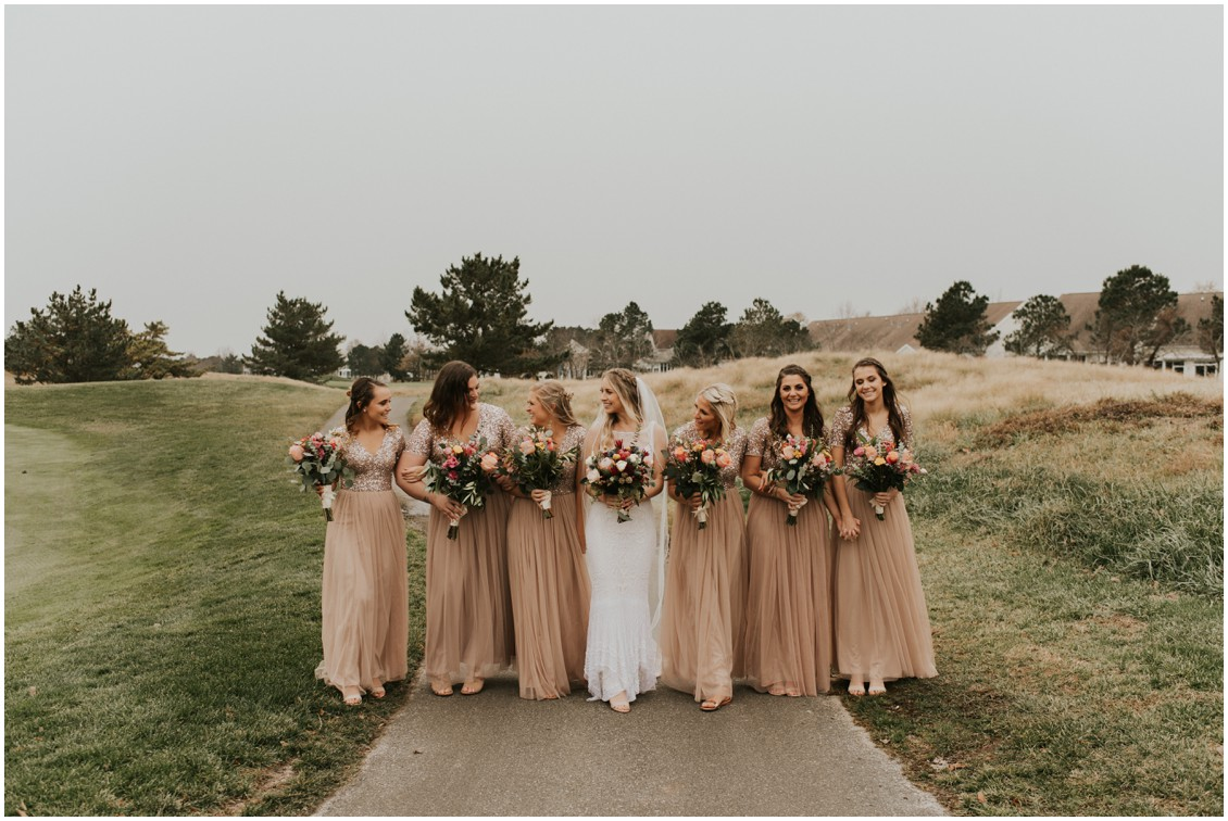 Bride and bridesmaids on golf course  | My Eastern Shore Wedding | Bear Trap Dunes | Coastal Tented Events