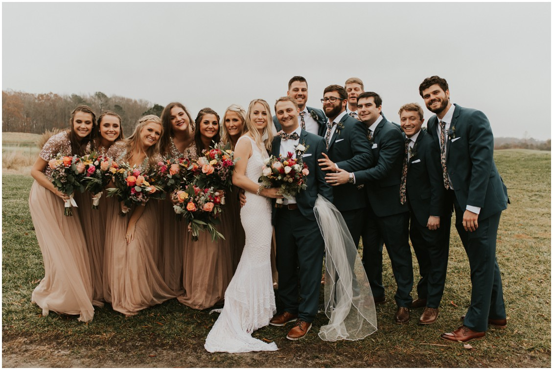 Bride and groom with bridal party on golf course in winter wedding | My Eastern Shore Wedding | Bear Trap Dunes | Coastal Tented Events