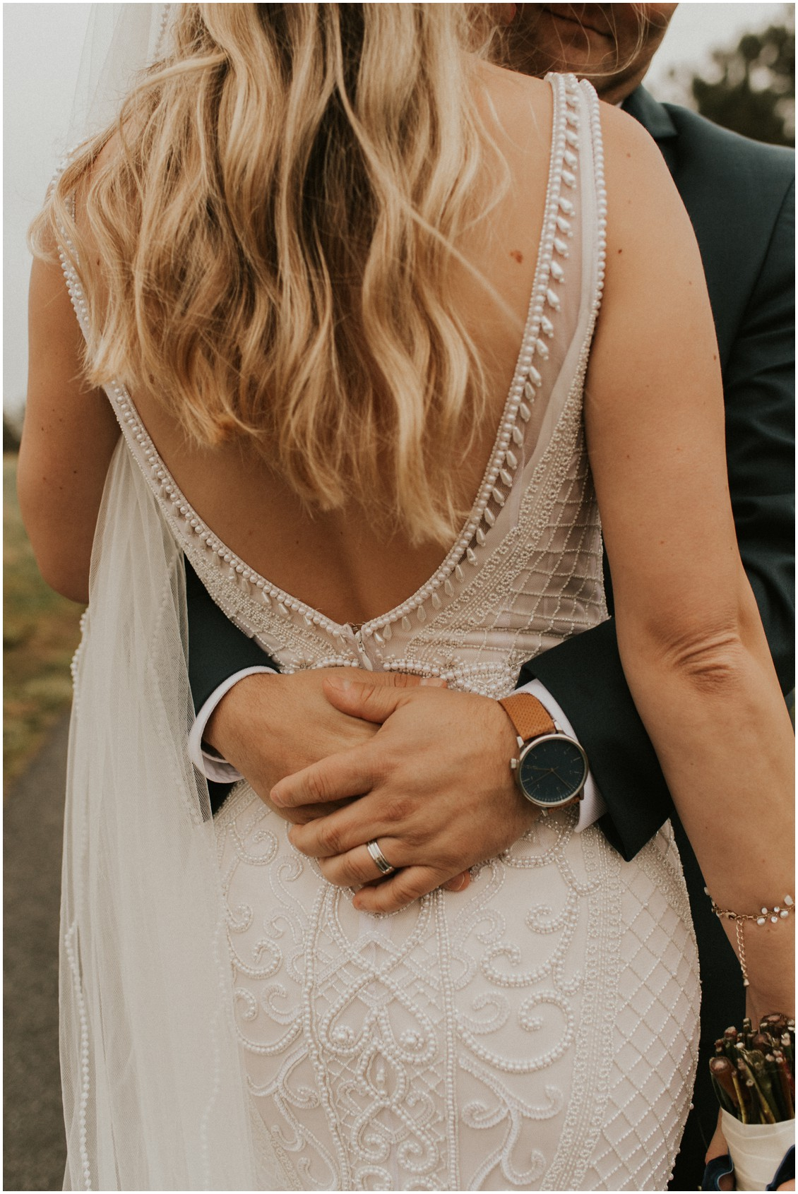 Bride and groom portrait groom details and beaded gown in winter wedding | My Eastern Shore Wedding | Bear Trap Dunes | Coastal Tented Events