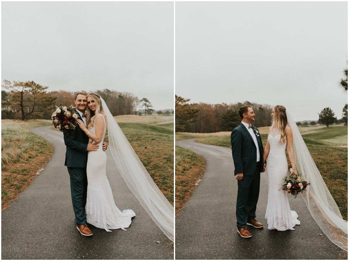 Bride and groom portrait on golf course in winter wedding | My Eastern Shore Wedding | Bear Trap Dunes | Coastal Tented Events