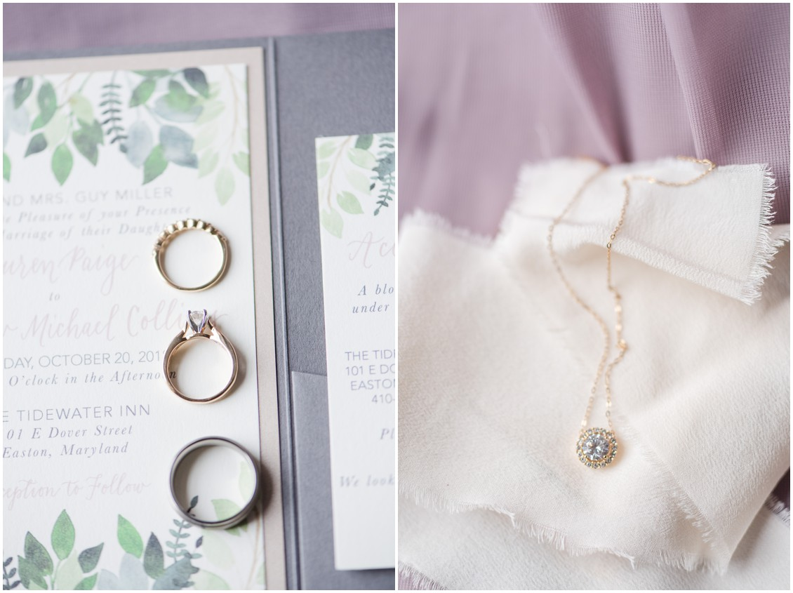 Wedding flat lay details of rings and invitations and bridal jewelry | My Eastern Shore Wedding | The Tidewater Inn