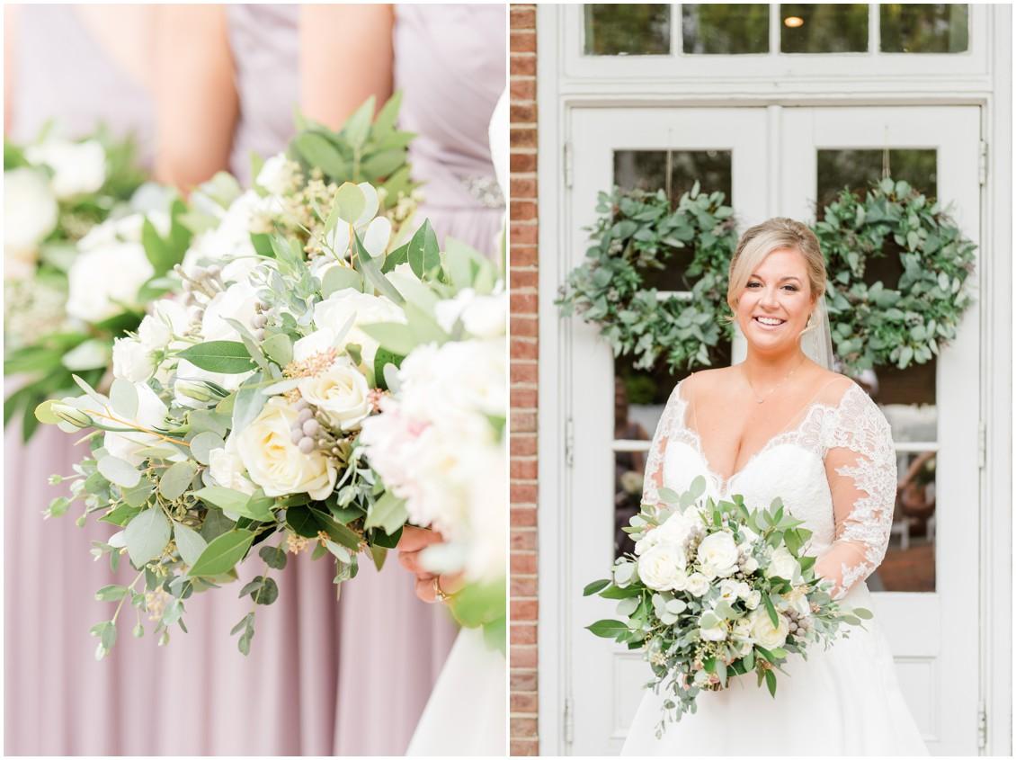 Bridal bouquets and mauve dresses detail | Bridal portrait | My Eastern Shore Wedding | The Tidewater Inn