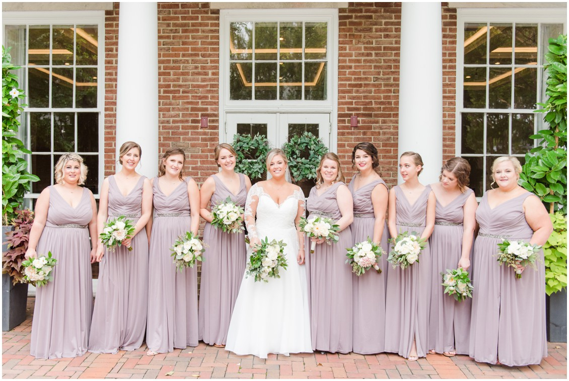 Bride and bridesmaids in mauve dresses | My Eastern Shore Wedding | The Tidewater Inn