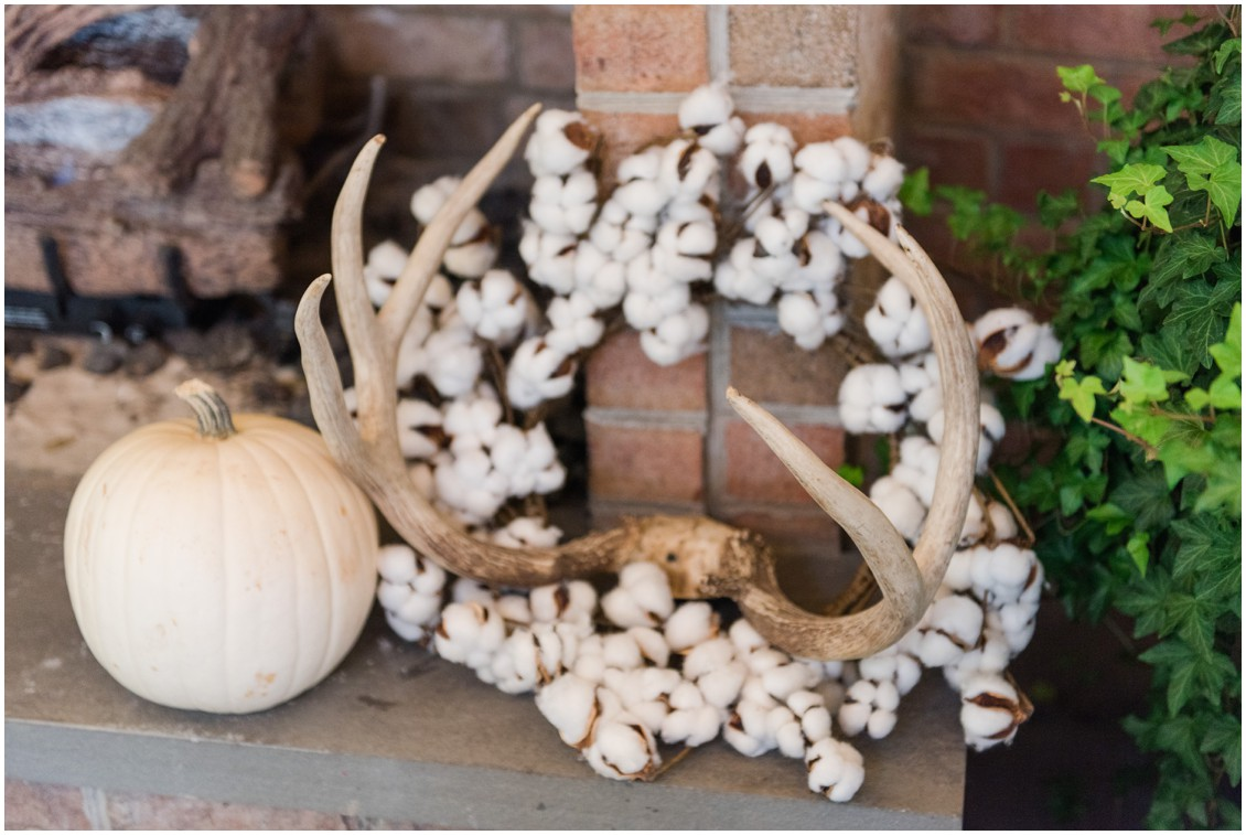Details of wedding decor with antlers, cotton and white pumpkins | My Eastern Shore Wedding | The Tidewater Inn