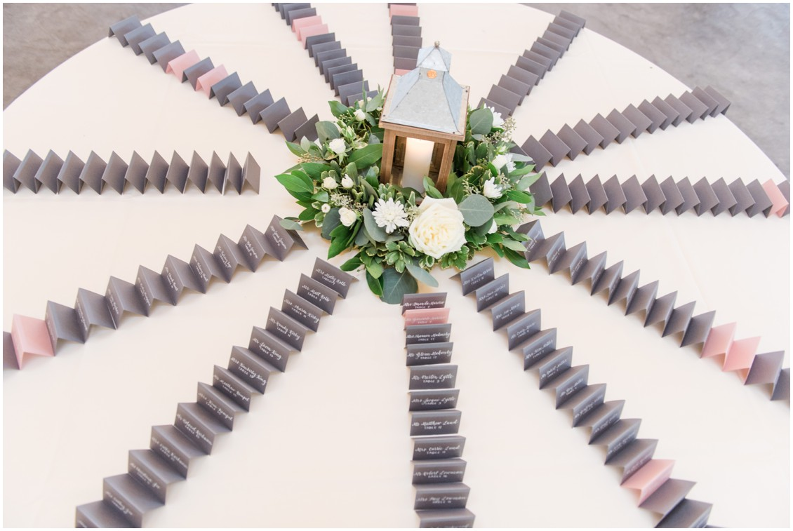 Place cards fanned out on table | My Eastern Shore Wedding | The Tidewater Inn