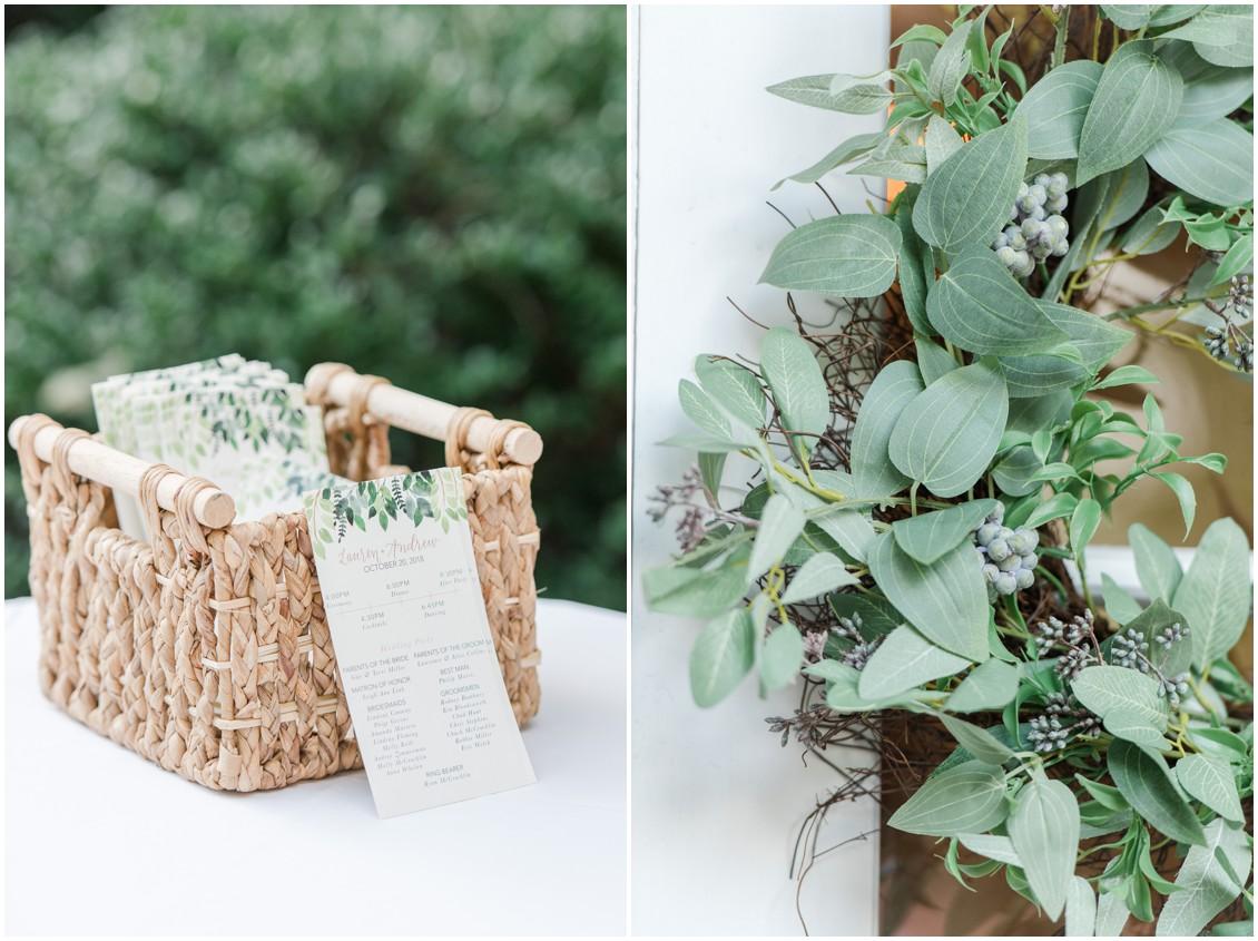 Wedding programs in a basket | Timeless green wreath detail  | My Eastern Shore Wedding | The Tidewater Inn
