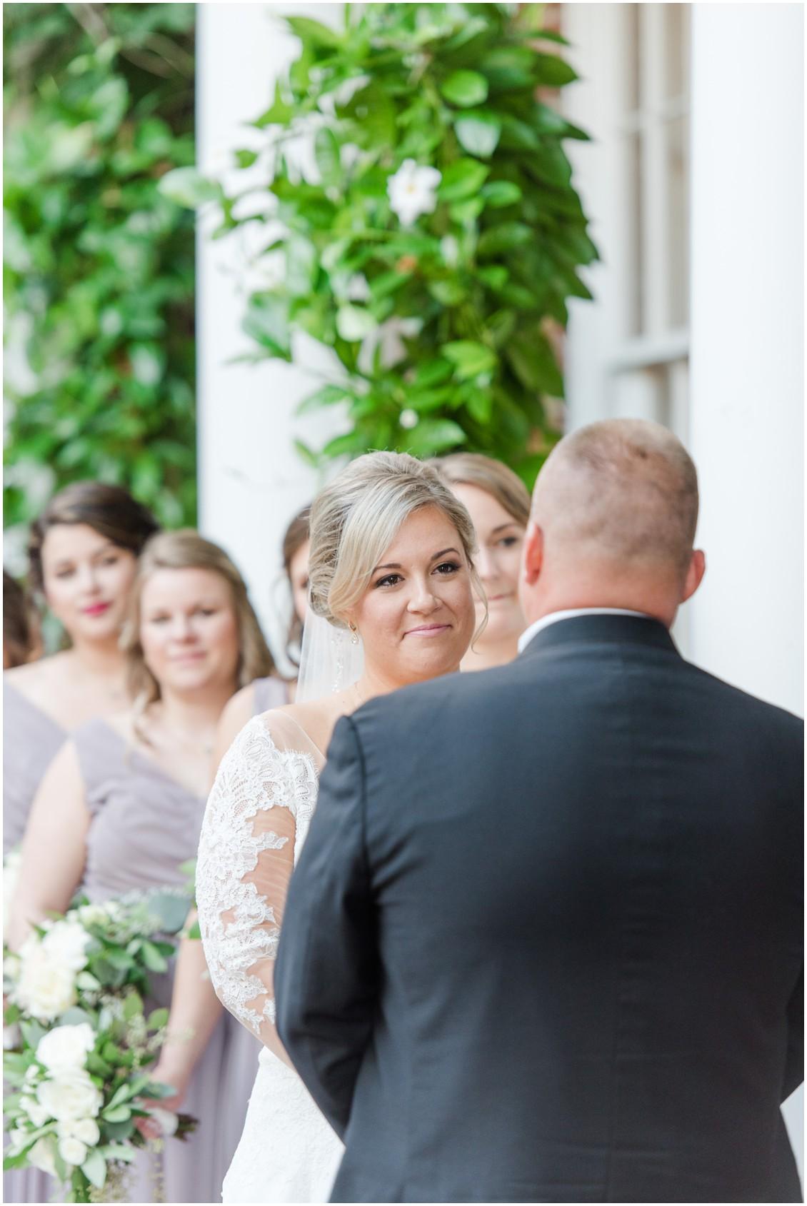 Bride looking at groom during wedding ceremony | My Eastern Shore Wedding | The Tidewater Inn