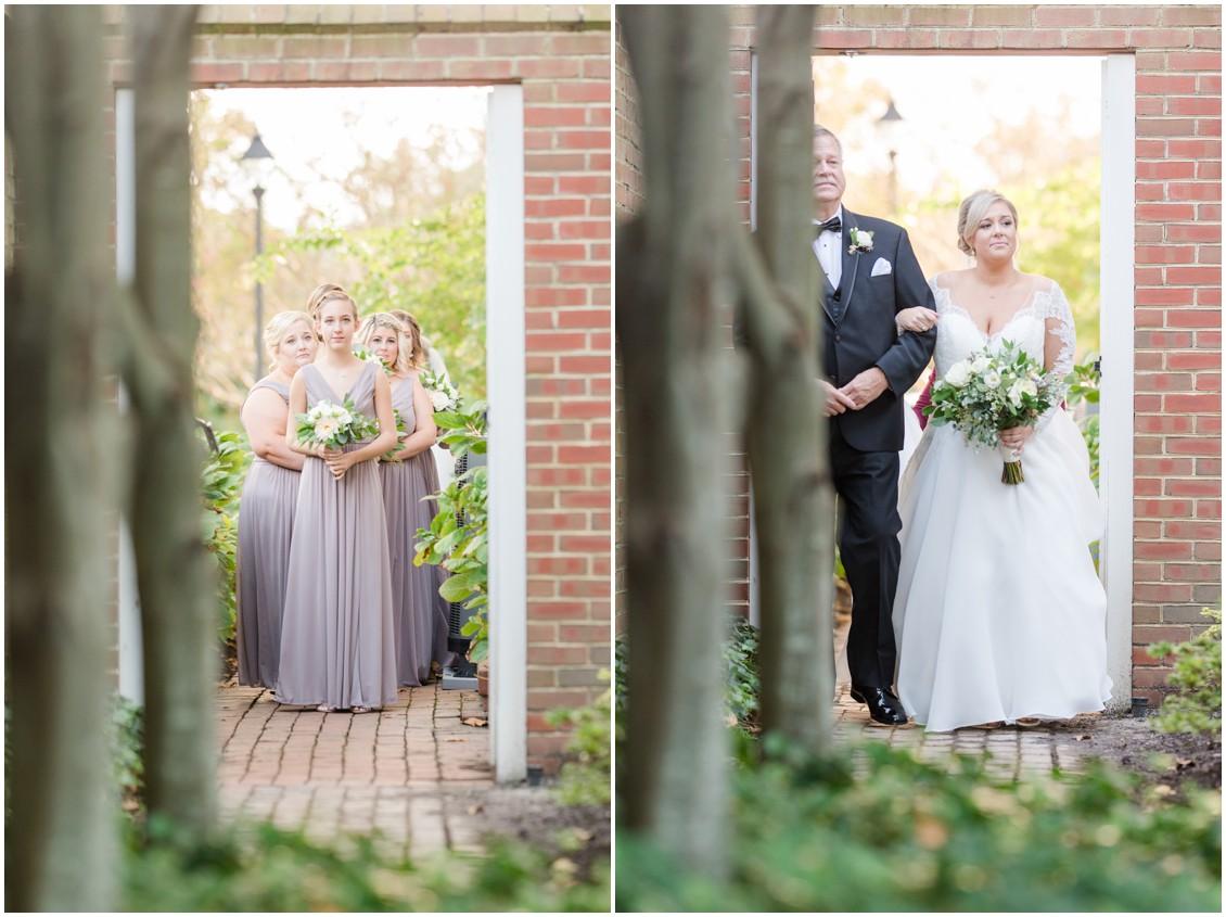 Bridesmaids waiting to walk down aisle | Bride and father waiting to walk down the aisle | My Eastern Shore Wedding | The Tidewater Inn