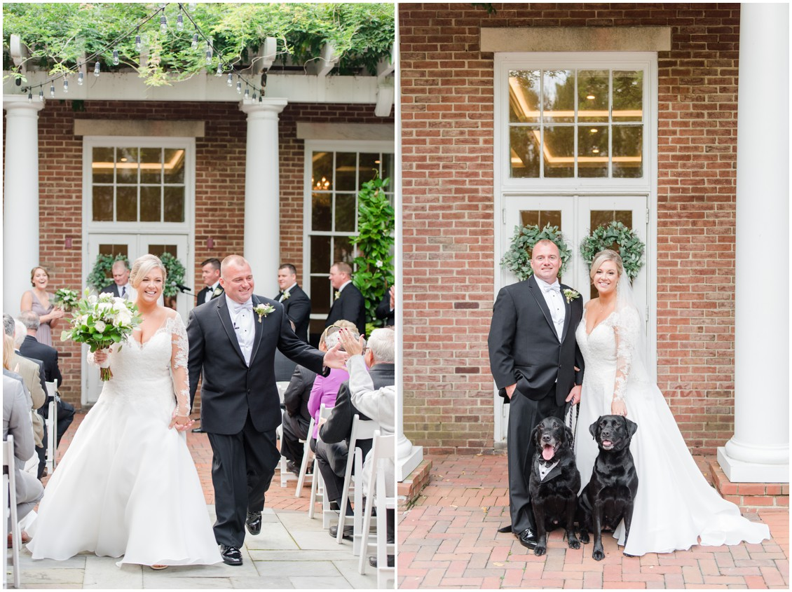 Bride and groom walking up aisle after wedding | Bride and groom with two black labs | My Eastern Shore Wedding | The Tidewater Inn