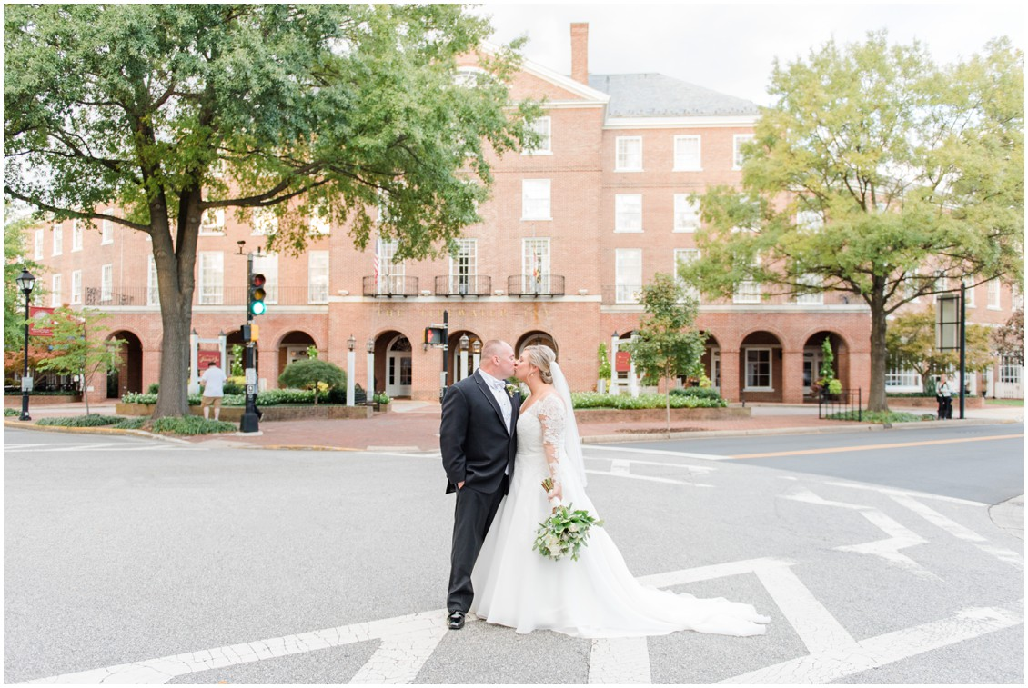 Bride and groom portrait in front of the Tidewater Inn| My Eastern Shore Wedding | The Tidewater Inn