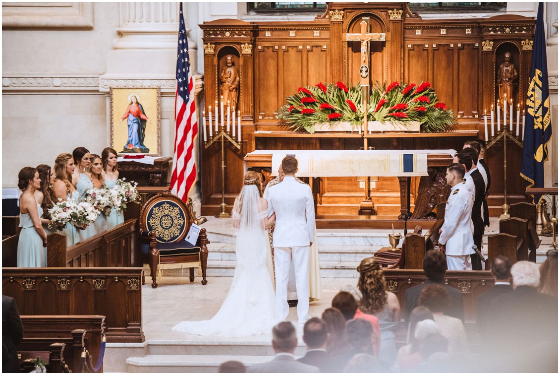 BRide and groom at the altar of the US Naval Academy Chapel | My Eastern Shore Wedding |