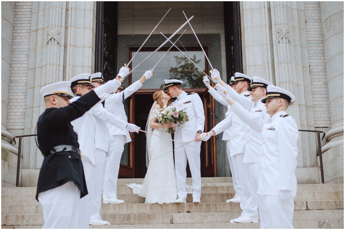 BRide and groom leaving the  US Naval Academy Chapel | My Eastern Shore Wedding |