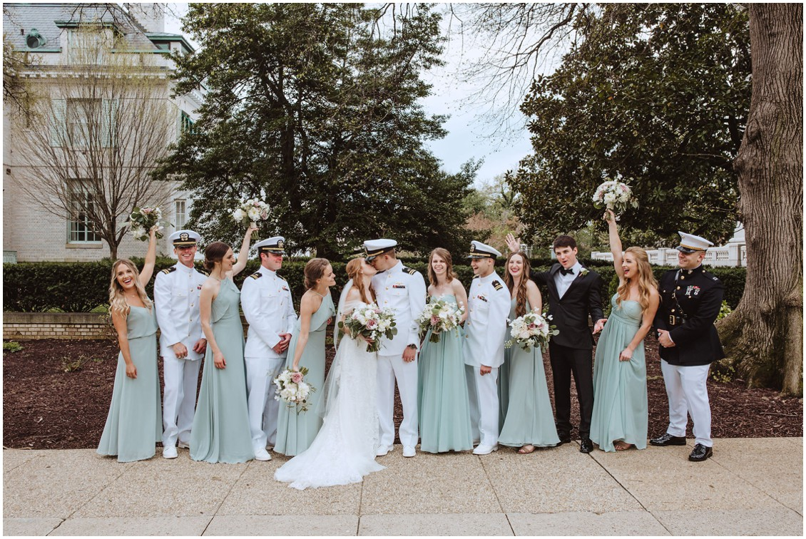 Bride and groom with wedding party in sage green dresses | My Eastern Shore Wedding |