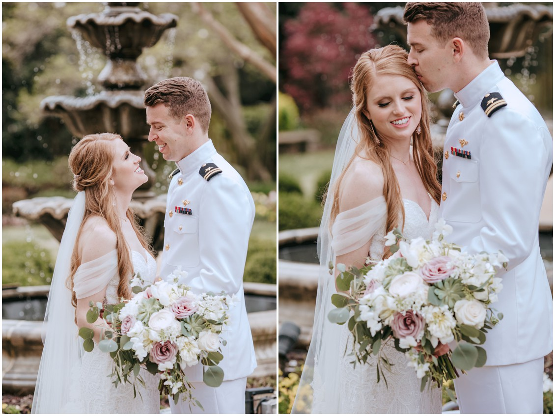 Bride and groom portrait at Naval Academy | My Eastern Shore Wedding |